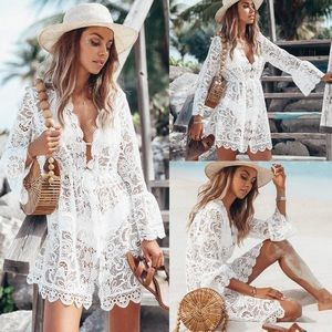 White Scalloped Lace Boho Beach Dress Coverup